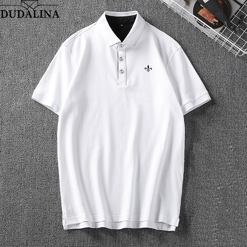 DUDALINA Men High Quality   Polo   Shirt Men's Big Size Short Sleeved   Polo   Shirt Slim Embroidery Letter Casual Shirt Plus Size 8XL