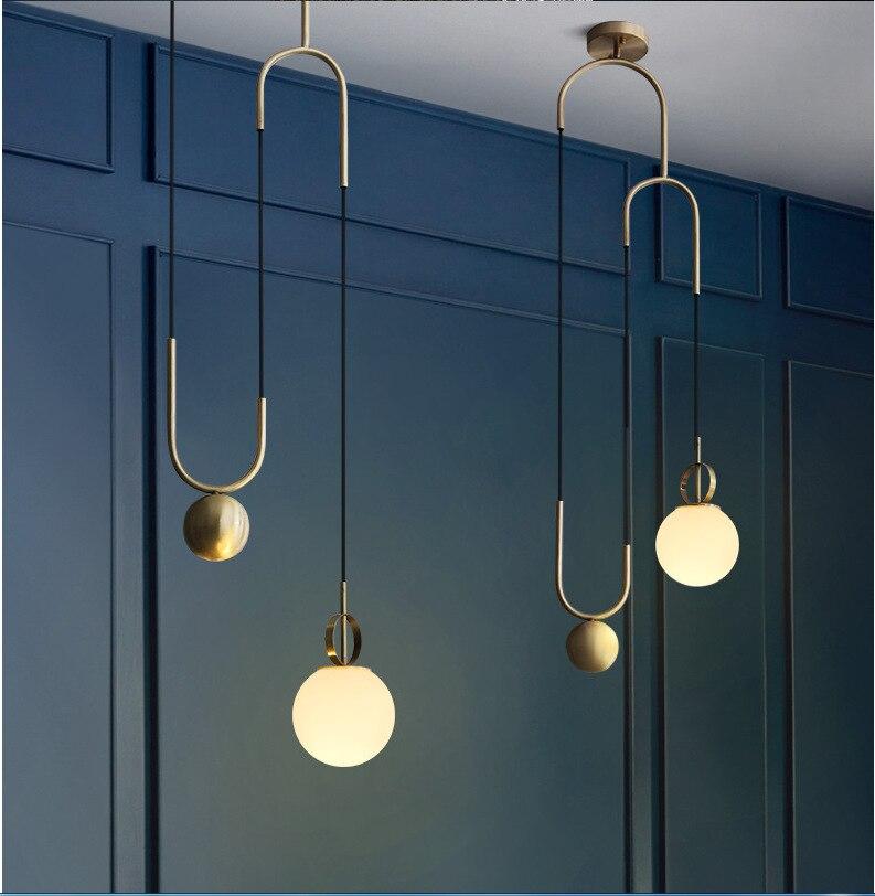 Boule de verre lustre décoratif poste moderne galvanoplastie bronze extensible chambre machine tête salon café