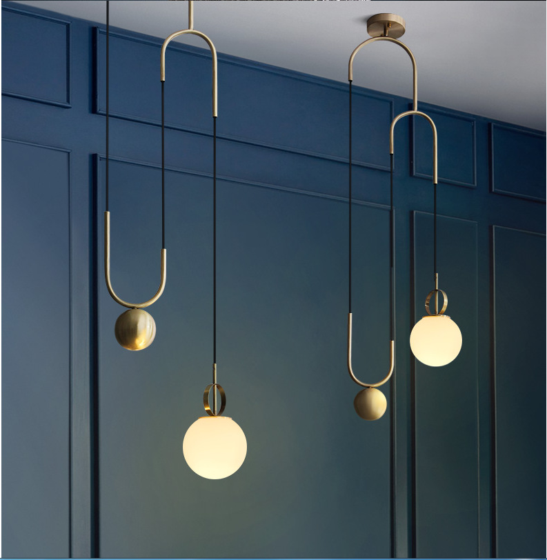 Glass ball decorative chandelier Post modern Electroplating bronze Stretchable Bedroom machine head Living room Coffee shop|Pendant Lights| |  - title=