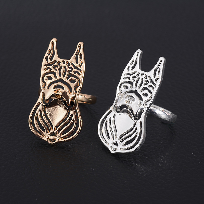 1pcs Hollow Out Gold Silver French Bulldog Ring Wholesale Animal Dog Rings for Pets Pupp ...