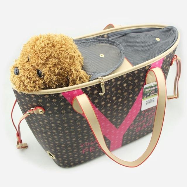 d2bad72449f1 Luxury Designer Dog Carrier Leather Pet Carrying Bags Small Medium Cat  slings Tote Handbag Outside Shoulder Carrier