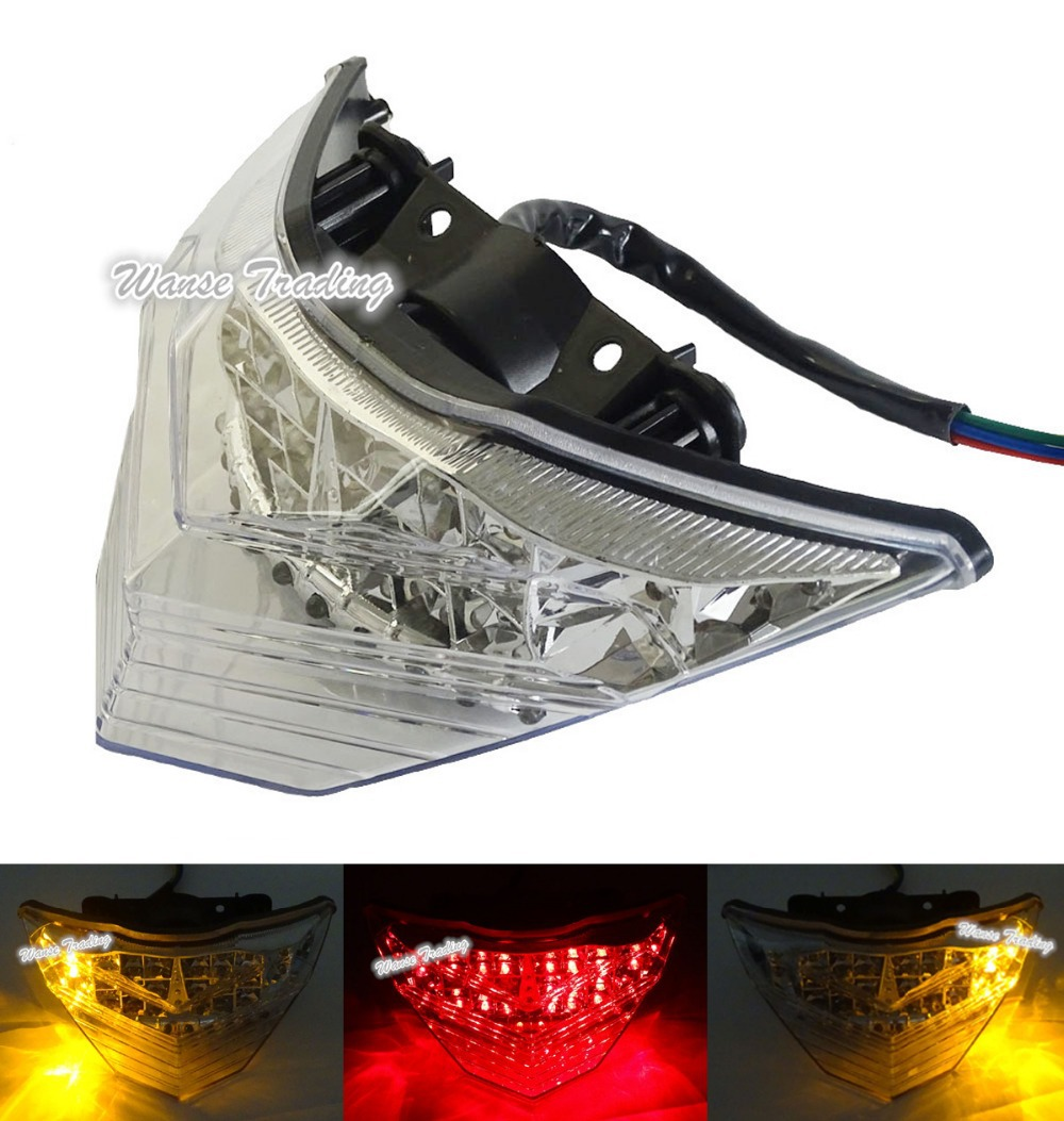 waase Tail Brake Turn Signals Integrated Led Light Clear For 2013 2014 2015 2016 KAWASAKI Ninja 250 300 300R EX250 EX300 ZX300R for kawasaki ninja 250 300 z250 2013 2016 motorcycle accessories integrated led tail light turn signal blinker clear