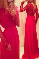A Line O Neck Party Dresses Sexy Formal Gown Satin Tulle Robe De Soiree Full Sleeve Long Red Lace Evening Dresses UM869