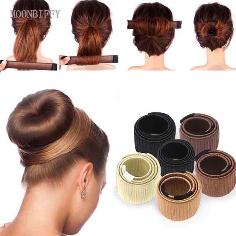 MOONBIFFY Synthetic Wig Donuts Bud Head Band Ball French Twist Magic DIY Tool Bun Maker Sweet French Dish Made Hair Band