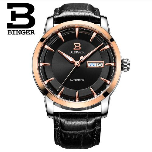 Geneva Binger new man original luxury brand men's fashion business W Leather Band automatic mechanical watches relogio geneva new jd mk