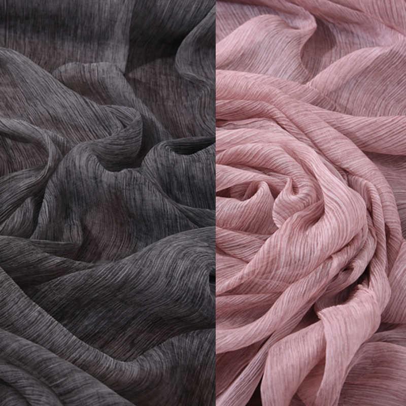 130 см Широкий Тонкий весенне осенние розовые и Черный, серый цвет шелк шифон ткань для лето и короткое платье; рубашка шарф H071