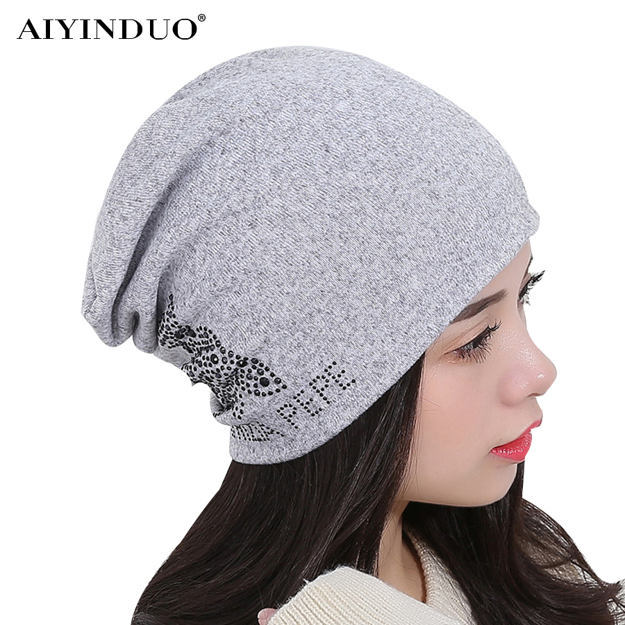 New Design Female Autumn And Winter Hats Bonnet Thick Warm Cap Knitted Caps Women Outdoor Ski Hip-hop Beanie Hat With Diamond hip hop beanie hat baggy unisex cap thick warm knitted hats for women men bonnet homme femme winter cap plus velvet beanies
