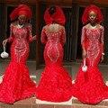 Africano vermelho Sereia Vestidos de Noite Marocaine 2016 Abiye Avondjurk Caftan vestidos Formais Vestidos de Noite Vestidos De Cristal