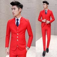 Korean version stand collar small suit mens temperament slim fit terno masculino wedding groom dress suits men casual 3piece