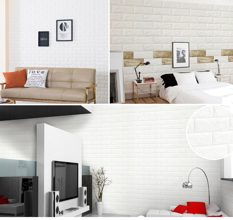 European 3D Wall Stickers Wall Brick Pattern Self-Adhesive Wallpaper Bedroom Living Room Decorative Waterproof  Sticker 77*70cm marble 3d three dimensional wall stickers self adhesive renovation brick pattern living room background dzas lq wallpaper