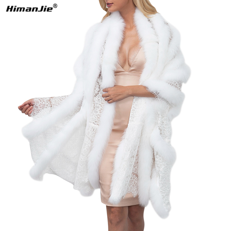 Himanjie women fashion wedding lace faux fox fur shawls wraps paryty bride patchwork winter fur scarves big fur coat pashmina