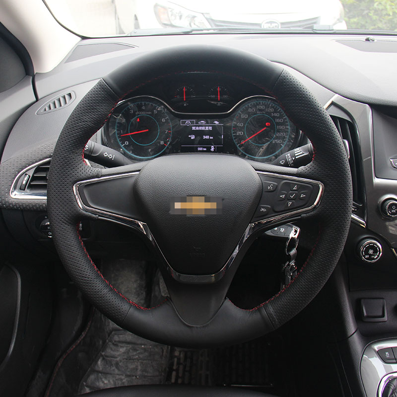Ipoboo New Anti Slip Black Leather Steering Wheel Stitch on Wrap Cover For Chevy Cruze 2015