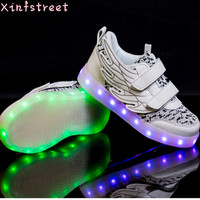 Led Shoes Kids Luminous Sneakers USB Charge Girls Boys Wing Lighting Shoes Brand Children Shoes With