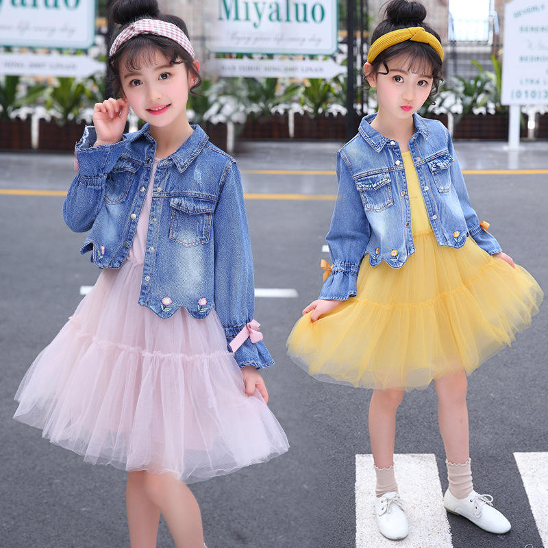 Girls Denim Jackets T Shirt Dress Suit for Children Clothes Girls Outfits 8 10 Year Teen Girls Clothing Set Spring Kids Clothes