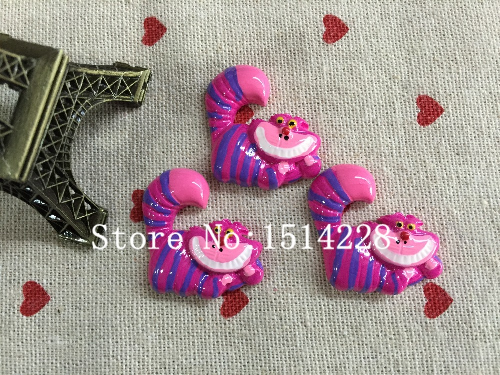 Mina Free shipping! Resin alice in wonderland cheshire cat. Resin Flatback Cabochon for Hair Bow Center ,DIY 25*29mm