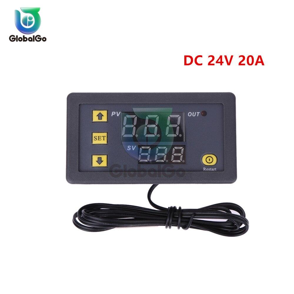 W3230 светодиодный цифровой термостат для контроля температуры AC/DC 12в AC 110в 220в 20A Мини светодиодный дисплей термостата водонепроницаемый зонд - Цвет: DC 24V 20A