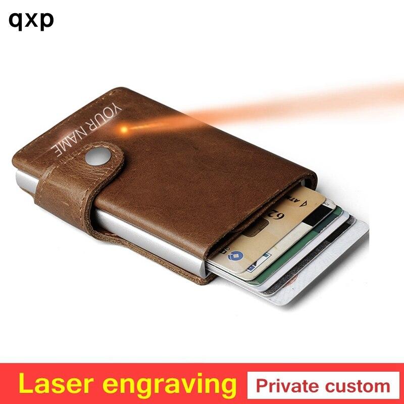 Personalizar Homens Impede privado RFID 100% Genuíno couro mini carteira Multifuncional bolsa Titular do Cartão de Alumínio Pop Up Automático
