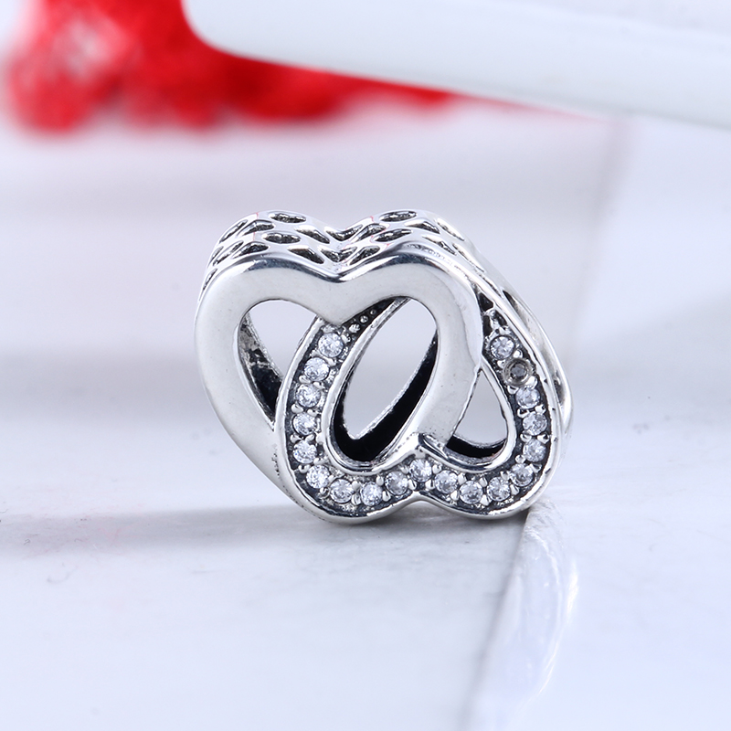 100% 925 Sterling Silver Fit Original Pandora Bracelet Entwined Love Charm DIY CZ Charm Beads for Jewelry Making