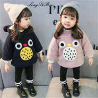 Female baby thick cartoon sweater 2 winter new 3 hooded warm jacket 4 Korean girls tide 4 years old plus velvet sweater