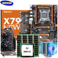 HUANAN X79 deluxe motherboard CPU RAM set with video card GTX1050Ti 4G DDR5 CPU Xeon E5 2660 V2 RAM 64G(4*16) DDR3 1600MHz RECC