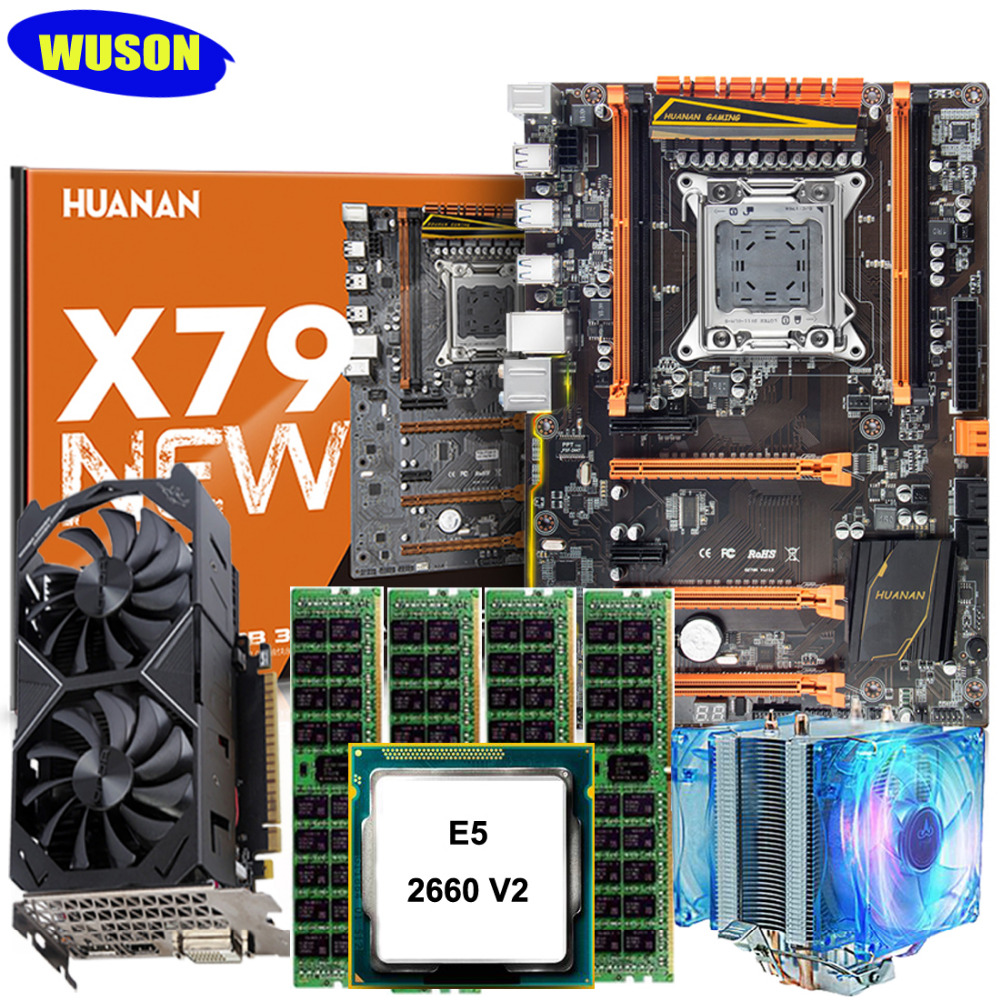 HUANAN X79 deluxe motherboard CPU RAM set with video card GTX1050Ti 4G DDR5 CPU Xeon E5 2660 V2 RAM 64G(4*16) DDR3 1600MHz RECC huanan x79 motherboard diy set cpu xeon e5 2680 v2 ram 32g 4 8g ddr3 recc 500watt psu video card gtx1050ti 240g sata3 0 ssd
