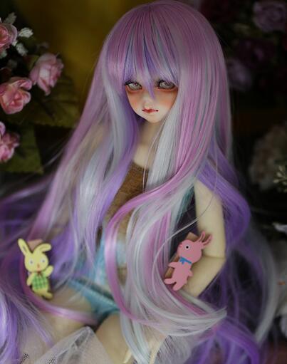 New BJD 1/3 22-23cm 1/4 18-18.5cm Long Purple Mix Hair Color Mixing BJD.SD MSD Doll Wig