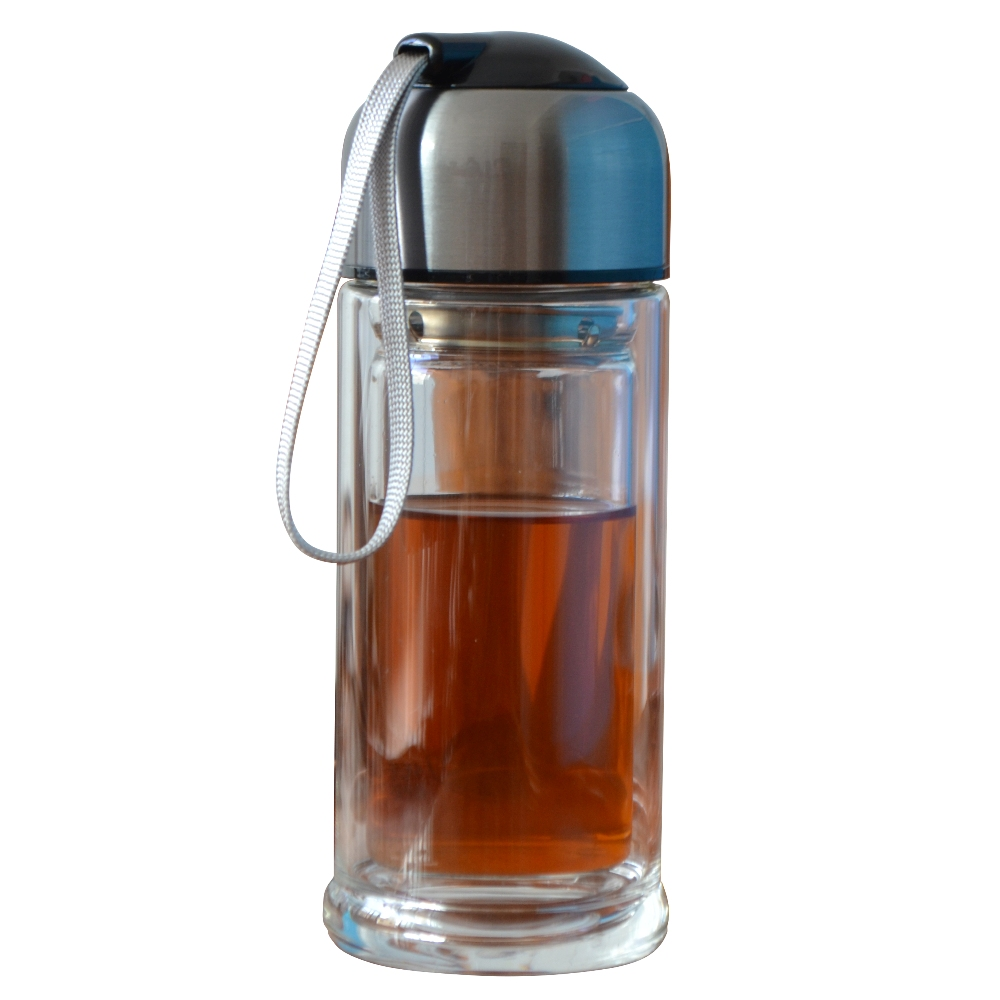 Portable Water Bottle : Ml double thicken wall glass water bottle portable