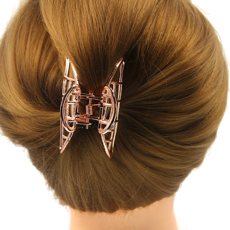 Rose Gold Color Hair Claws for Women Ladies Barrette Hairpin Crab Metal Hair Claw Clips for Women Hair Accessories   Headwear