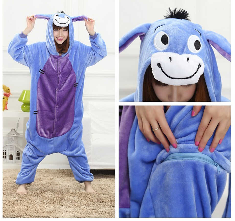 Unisex Winter Spring Fleece Kawaii Cute Adult Animal Couples Onesie Pajamas  Costume Donkey Onesie halloween costumes 1a0b48c55e81