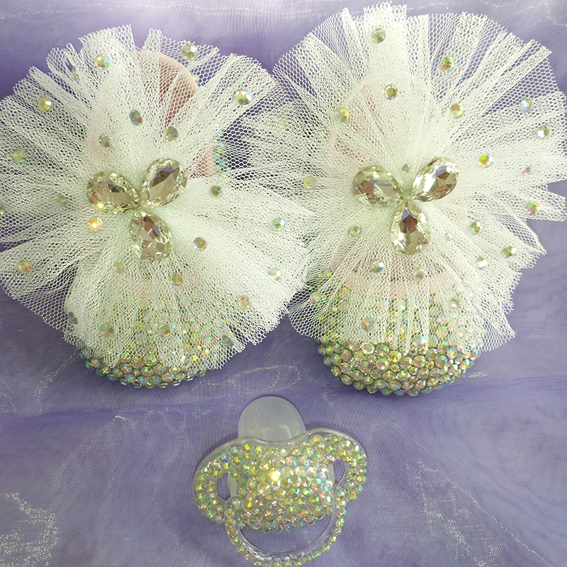 free shipping Lace bowknot AB rhinestone Crystal Baby Girl's shoes handmade Bling diamond soft First Walkers shoes and pacifier