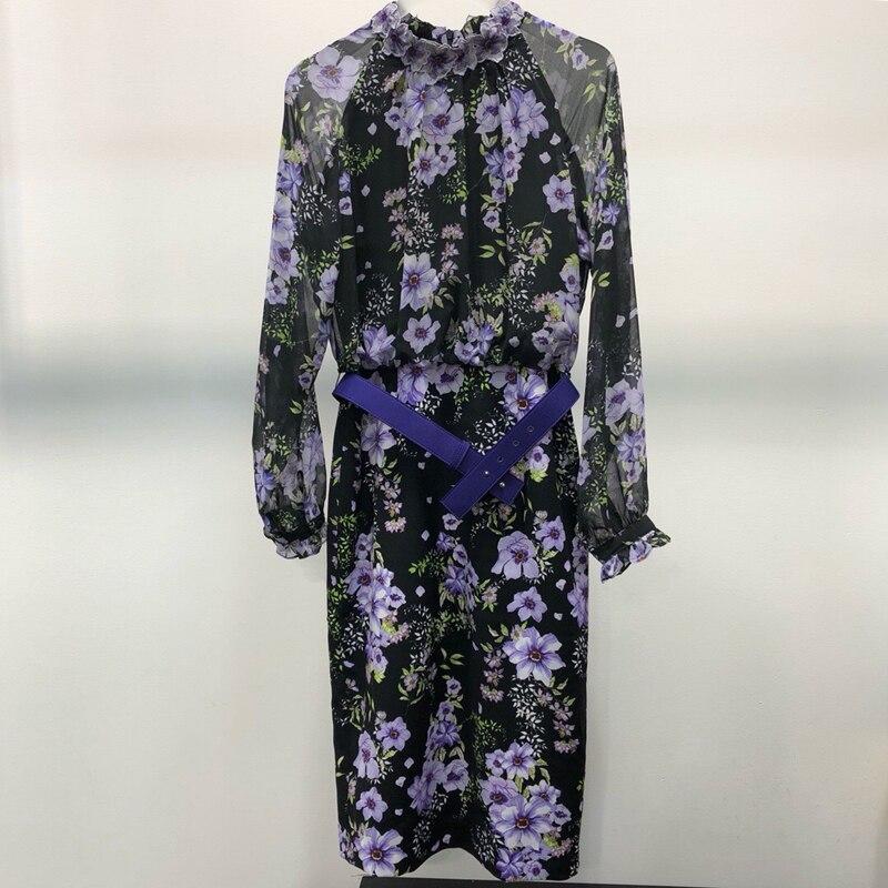 Роскошные Макси платье с принтом синий фиолетовый с длинным рукавом платье с цветочным принтом 2018 Mew модные женские туфли Осень