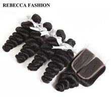 Rebecca не Реми Малайзийский свободная волна с закрытием человеческих волос Weave 4 Связки с 4X4 кружева закрытия расширения