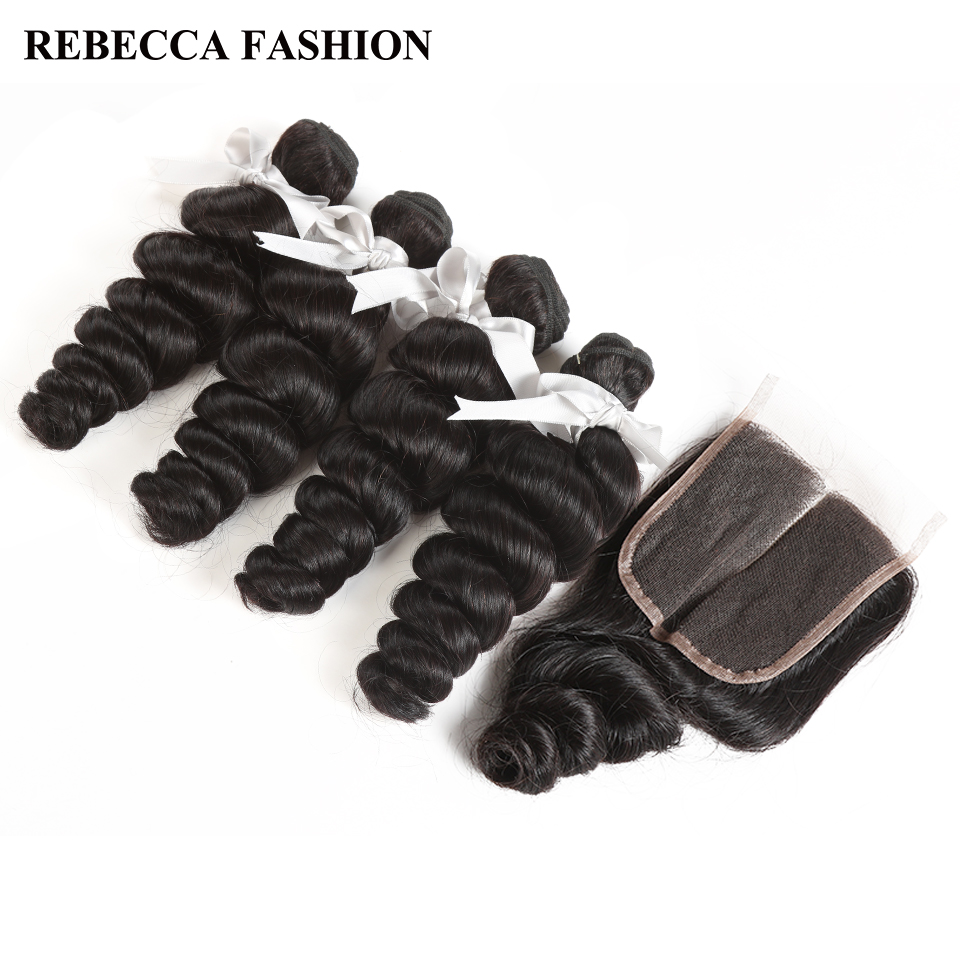 Rebecca Non Remy Malaysian Loose Wave With Closure Human Hair Weave 4 Bundles With 4X4 Lace Closure Extensions Free Shipping