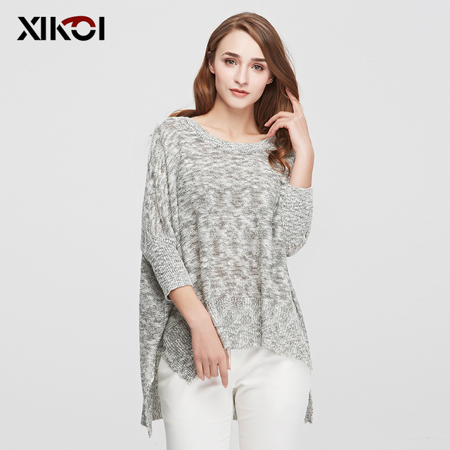 XIKOI Sweaters Women Pullovers Casual Fashion Ladies Clothing Batwing Sleeve O-Neck Flat Knitted Woman Sweater Clothes 1