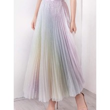 цена SE Women TUTU High Waist Skirt Mesh Midi Pleated Gauze Sequin Elegant Skirt Female Casual Fashion Gradient Rainbow Skirt в интернет-магазинах