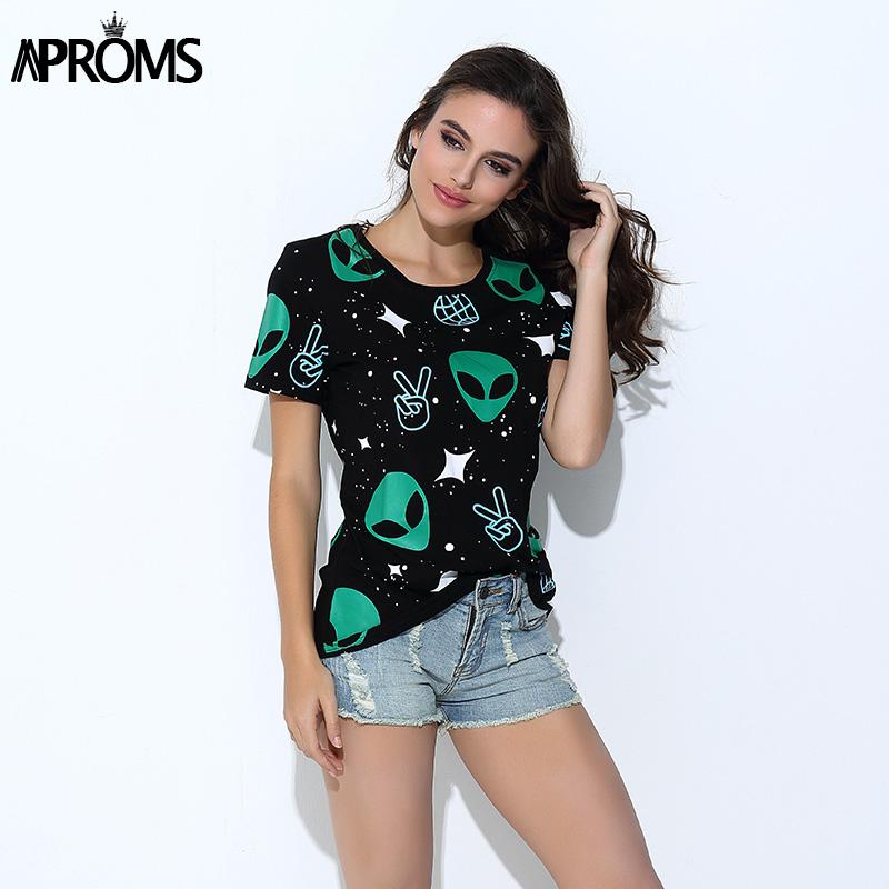 HTB1vI9kPVXXXXXWXXXXq6xXFXXXH - Punk Alien ET Print Black Short Sleeve T Shirt