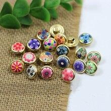 10 шт. высококачественные круглые декоративные пуговицы из смолы, медная основа, цветочные пуговицы для рубашек, аксессуары для шитья одежды
