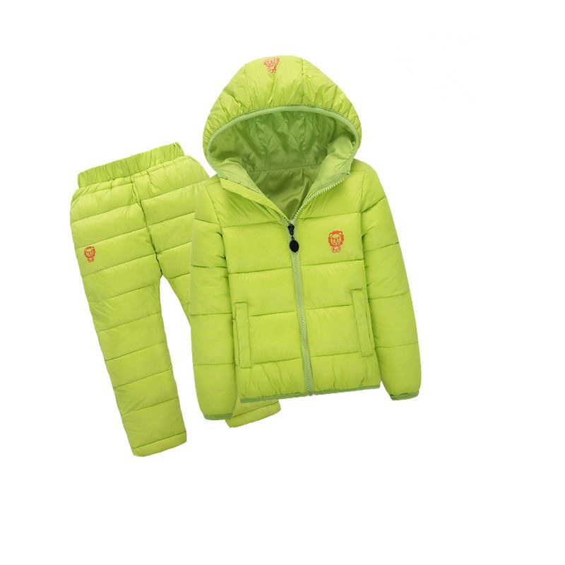 Children Set Boys girls Clothing sets winter 1-6year hoody Down Jacket + Trousers Waterproof Snow Warm kids Clothes suit 6 color 2016 winter boys ski suit set children s snowsuit for baby girl snow overalls ntural fur down jackets trousers clothing sets
