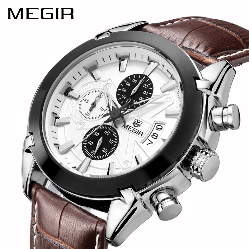 <font><b>MEGIR</b></font> Creative Quartz Sport Watch Men Leather Business Watches Clock Chronograph Relogio Masculino Army Military Wristwatches image