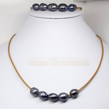 "free shipping $wholesale_jewelry_wig$ set real black pearl stone handmade brown leather bracelet pendant necklace 18""(China)"