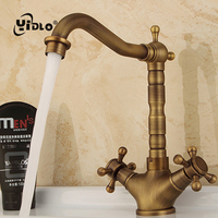 Antique Basin Faucets Kitchens Brass Cold & Hot Water Tap Classic Bathroom Kitchens Sanitary Ware Bathroom Accessories A19