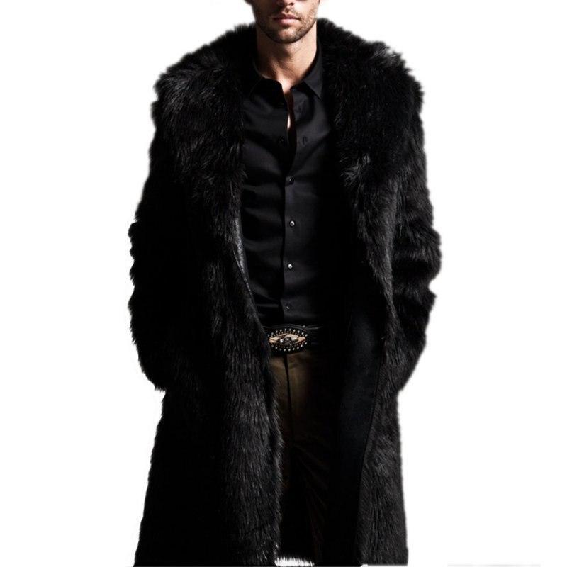 High Quality Autumn Winter Men Coats Rabbit Faux Fur Long Style Men Coat Long Sleeve Turn-Down Collar Coat Plus Size Men CoatFR4