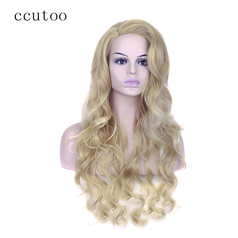 Ccutoo 70cm dourado loira mix ondulado longo lado de separação estilo peruca sintética cabelo feminino cosplay perucas completas fibra de resistência ao calor