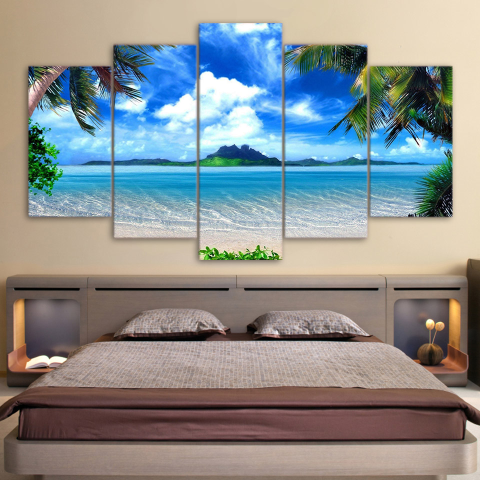 HD Print Canvas Wall Art Pictures Modern Living Room 5 Panel Beach Blue Palm Trees Decor Poster 5 Pieces Painting Frame PENGDA