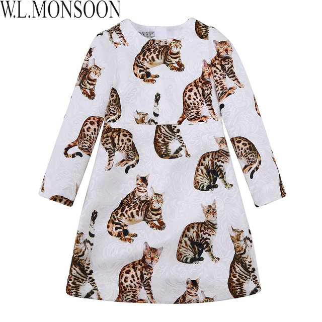 W.L.MONSOON Girls Dress Kids Clothes 2017 Brand Princess Dress Costume Cat Print Girl Dresses Long Sleeve Brocade Children Dress
