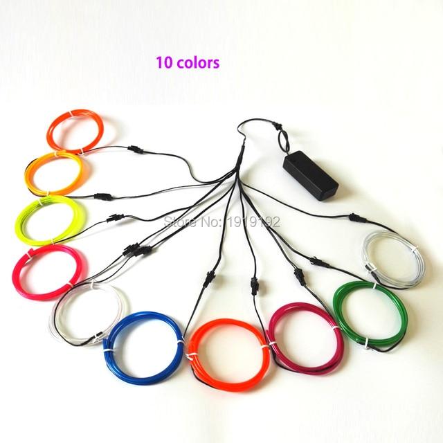 3.2mm 1Meter x 10pcs ten color flexible electroluminescent wire EL ...