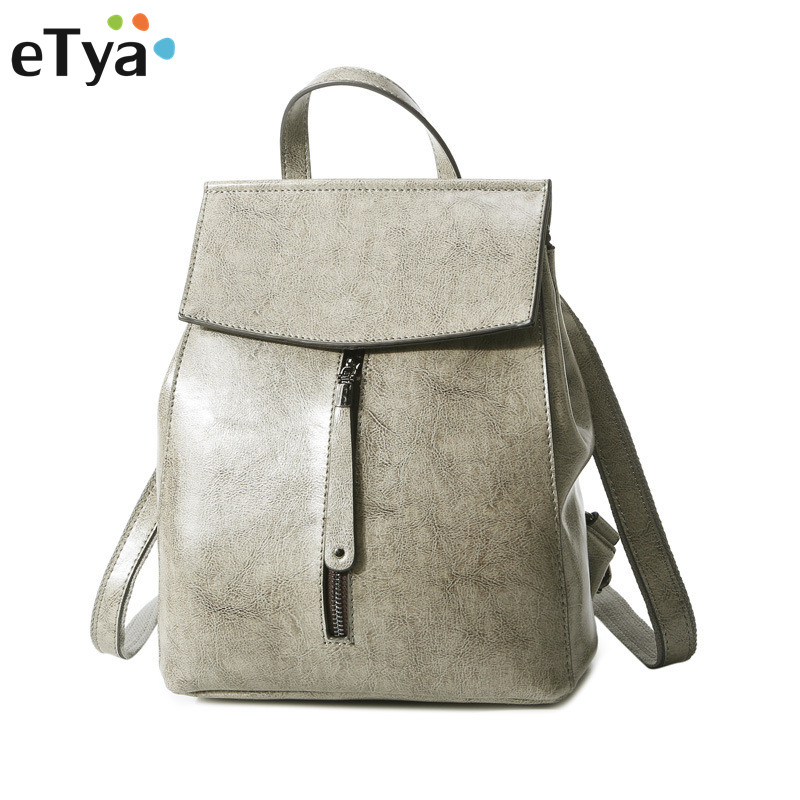 eTya Fashion Travel Women Backpack Genuine Leather Shoulder Bags Zipper Female Student School Bags Backpacks For Teenage Girls рубашка мужская casino цвет синий c230 1 010 z размер 44 56 174 184