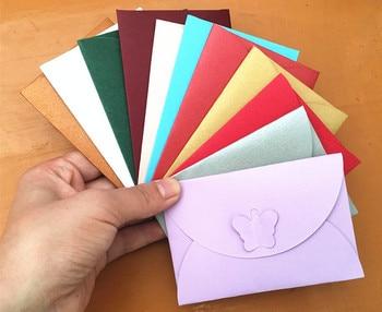 200pcs Envelope Paper Bag invitation card Colored Butterfly Buckle Kraft Retro Buckle Decorative Envelope