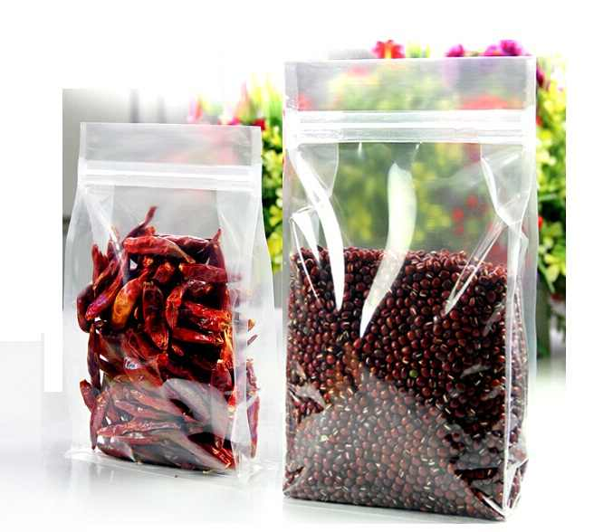 Qi Size:16*26+8cm Food Moisture-proof Bags Clear Plastic Bags Stand Up Pouches Square Packaging Bags for Snack/Cookies/Rice