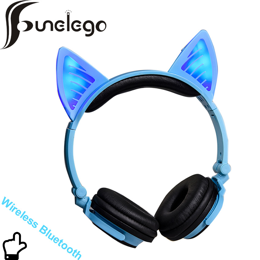 Funelego Wireless Bluetooth Earphone Flashing Glowing Cat Ear Luminous Headphones Gaming Headset  with LED lights For PC Laptop glowing sneakers usb charging shoes lights up colorful led kids luminous sneakers glowing sneakers black led shoes for boys